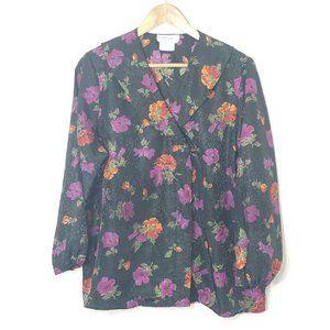 Balaban | Black Floral Hidden Button Blouse Top 38